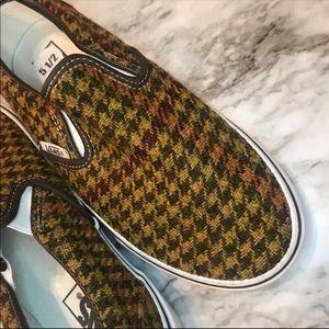 VANS Slip On Houndstooth Wool Tweed Shoes